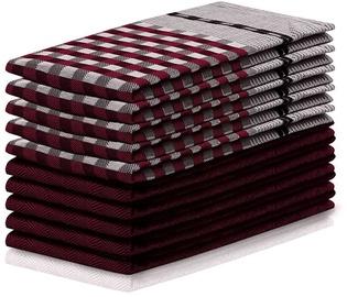 DecoKing Louie Check & Art Towel Set 50x70 Bugundy/Black 10pcs