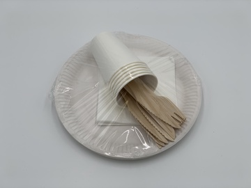 Mood Set Of Paper Dishes And Wood Tools 6pcs