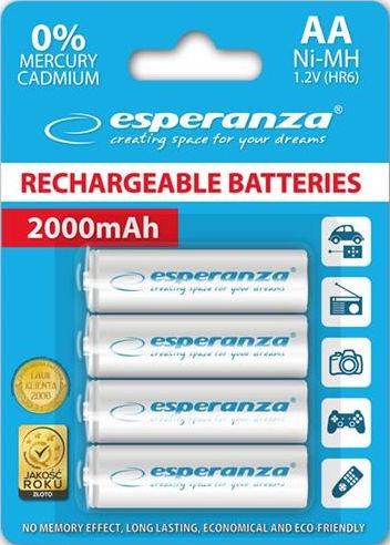 Esperanza Rechargaeble Batteries 4x AA 2000mAh White