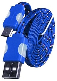 Etui Super Flat Universal Micro USB Cable w/ LED Light Blue