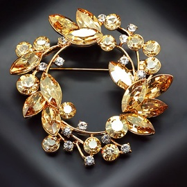 Diamond Sky Brooch Crystal Crown VI With Swarovski Crystals