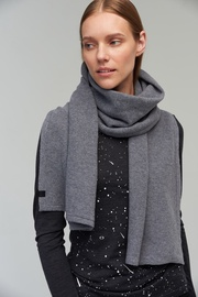 Audimas Knitted Merino Wool Scarf With Cashmere Grey