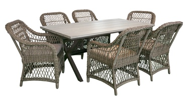 Home4you Laurino Table And Six Chairs Set Brown