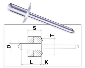 Tõmbeneedid Vagner SDH 25142, 4,8 x 12 mm, Al, 50 tk