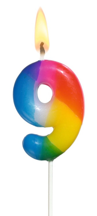 Susy Card Multicoloured Number Candle 9