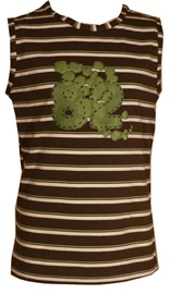 Bars Womens Sleeveless Shirt Green 37 116cm