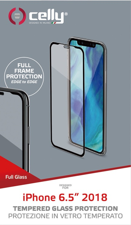 Celly Full Glass Screen Protector For Apple iPhone XS Max Black