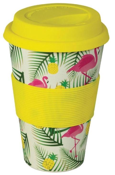 Must 100% Eco Bamboo Fibre Mug With Silicone 480ml Flamingo Yellow