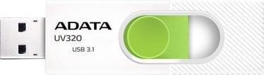 USB mälupulk ADATA UV320 White/Green, USB 3.1, 64 GB