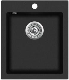 Aquasanita Granite Sink Black Metallic 425x500mm
