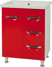 Sanservis Laura-60 Cabinet with Basin Como-60 Red 60x83x45cm