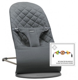 BabyBjorn Bouncer Bliss Antracite Cotton + Wooden Toy 606021
