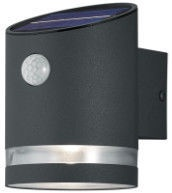 Настенный светодиодный светильник холодного антрацитового цвета, IP44, 3 Вт, 165 лм, 3000 К с солнечными батареями и датчиком движения