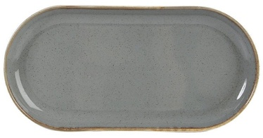 Porland Seasons Oval Plate 20x32cm Dark Grey