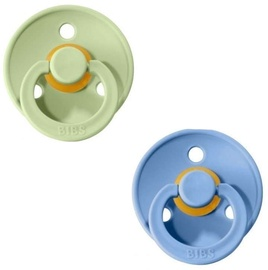 Bibs Colour Round Pacifier 2pcs Sky Blue/Pistachio 6-18m