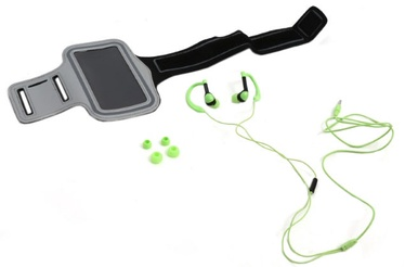 """Platinet 2in1 In-Ear Sport Stereo Headset + Armband Smarthone Case 5"""" Max Green"""