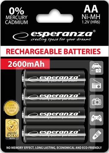 Esperanza Rechargaeble Batteries 4x AA 2600mAh Black