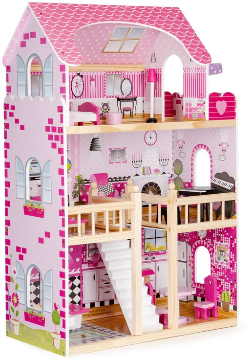 Nukumaja EcoToys Wooden With Furniture And LED Pink