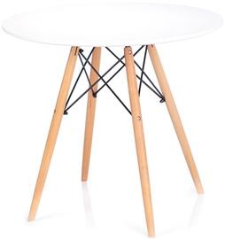 Обеденный стол Homede Tebe, белый/дубовый, 850x850x700мм