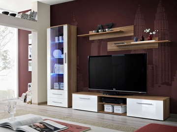 ASM Galino A Wall Unit Plum/White Gloss