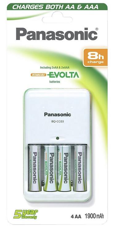 Panasonic Battery Charger BQ-CC03 + 4x AA 1900mAh