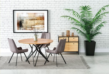 Обеденный стол Halmar Pixel 2, черный/дубовый, 1200x1200x760мм