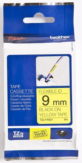 Brother Tape Black on Yellow 9mm