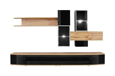 ASM Manhattan Living Room Wall Unit Set Wotan Oak/Black