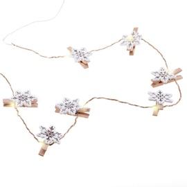 DecoKing Kaleo Snowflake Wood LED Lights w/ Clips 10pcs