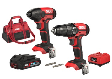 SKIL Red CK1E3300DA Cordless Impcat Wrench & Hammer Drill 20V w/ Bag