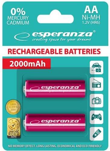 Esperanza Rechargaeble Batteries 2x AA 2000mAh Red