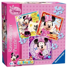 Pusle Ravensburger Disney Clubhouse Mickey Mouse Minnie 3in1 07244, 110 tk