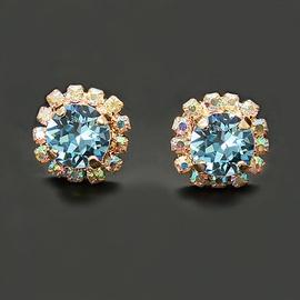 Diamond Sky Earrings With Crystals From Swarowski Magnificence III Aquamarine Blue