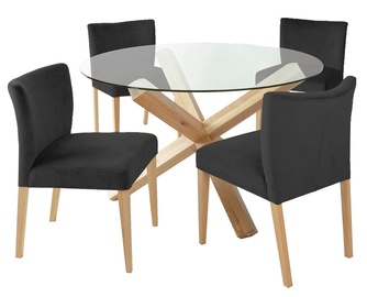 Home4you Turin Dining Set With Round Table 5pcs Brown Black