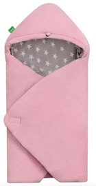 Lulando Velour Swaddle For Yeti Carrier Pink/Grey With White Stars