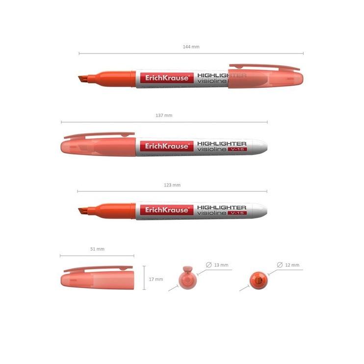 ErichKrause Visioline Highlighter V-15 12pcs Orange