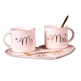 Home4you Mr&Mrs Marble Cup Set Pink