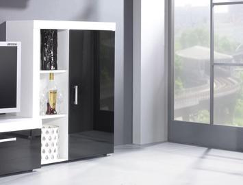 Cama Meble Samba Bookcase White/Black Gloss