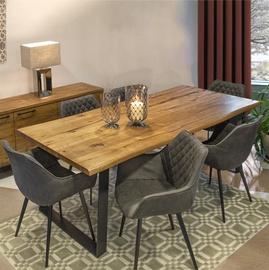 Обеденный комплект Home4you Rotterdam 6 K181122, черный/коричневый/дуб