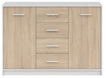 Black Red White Chest Of Drawers Nepo Plus White/Sonoma Oak