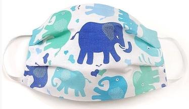 MamoTato Child Face Mask With Filter Pocket Blue Elephants
