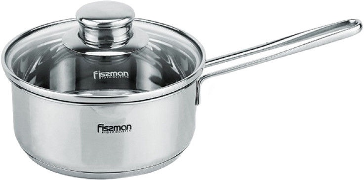 Fissman Bambino Stainless Steel Sausepan 14x6.5cm With Glass Lid 0.9L 5271