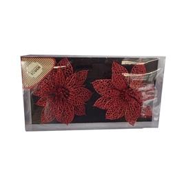 Jõulupuu ehe Glitter Flowers Red, 2 tk