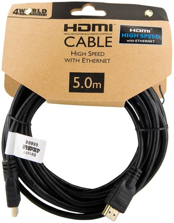 4World HDMI Cable High Speed With Ethernet 5m Black