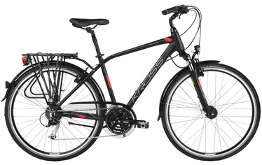 "Jalgratas Kross Trans 5.0 L 28"" Black Red Silver Matte 18"