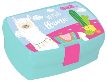 Must Plastic Lunch Box Pink With Llama