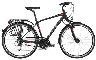 "Jalgratas Kross Trans 5.0 M 28"" Black Red Silver Matte 18"