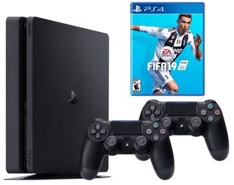 Sony Playstation 4 (PS4) Slim 1TB Black + 2 Dualshock Controller + FIFA 19
