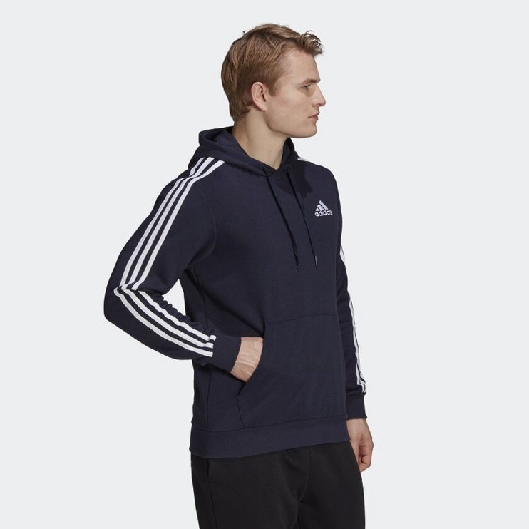Adidas Essentials 3 Stripes Hoodie GK9081 Blue 2XL