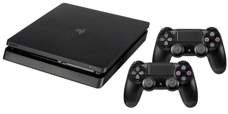 Sony Playstation 4 (PS4) Slim 500GB Black + 2 Dualshock Controllers